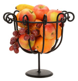SCROLLED FRUIT BOWL - Wrought Iron Decor Stand in Satin Black
