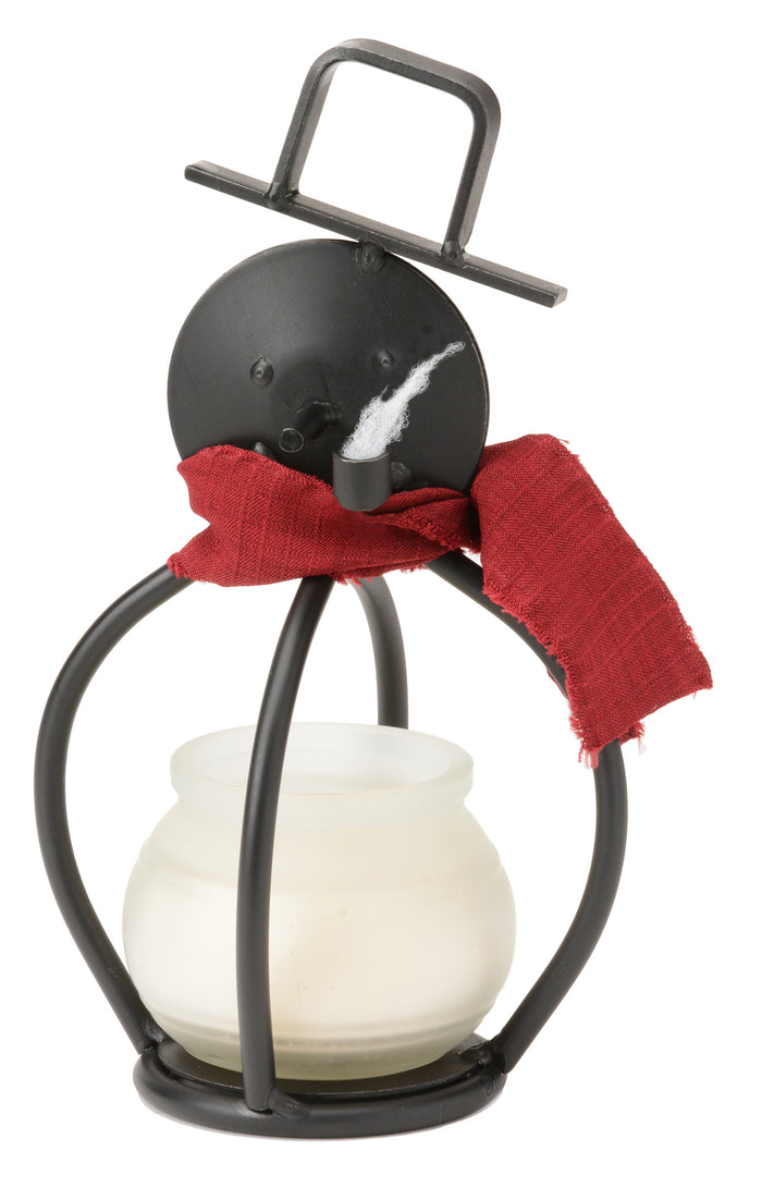 Adorable 3-D SNOWMAN Wrought Iron Tea Candle Stand Holiday Decor Holder USA