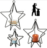 3-D STAR Wrought Iron Candle Stand Holiday Decor Holder ♦ 3 SIZES ♦
