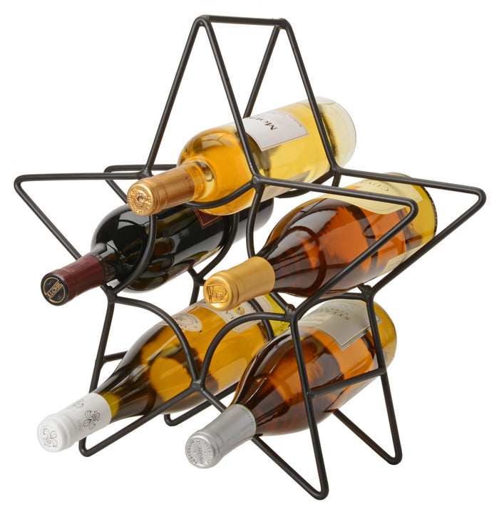6 WINE BOTTLE HOLDER - Hand Forged Wrought Iron Star Table Counter Rack