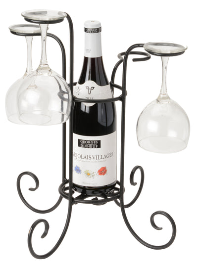 WINE BOTTLE & GLASS HOLDER - Hand Forged Wrought Iron Table Centerpiece