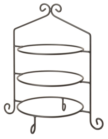 3 Tier PIE PLATE STAND - Wrought Iron Triple Rack in Satin Black USA ...