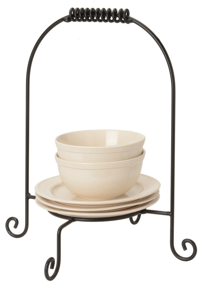 DINNER PLATE STACKER Wrought Iron Dinnerware Display Buffet Dish Caddy USA