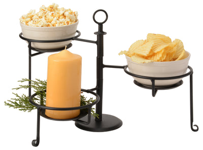 WROUGHT IRON SWIVEL CADDY Adjustable 3 Tier Table Rack Condiment Display USA