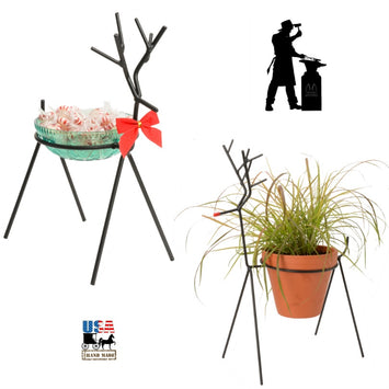 3-D REINDEER Wrought Iron Candle Stand Holiday Decor Holder ♦ 2 SIZES ♦ USA