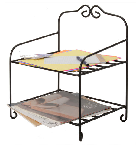 TABLE TOP ORGANIZER - Wrought Iron Desk Counter 2 Shelf Rack
