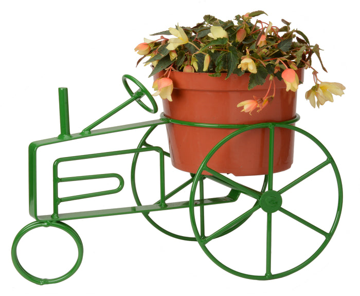 FARM TRACTOR PLANT STAND - Wrought Iron Flower Pot Holder in 5 Finishes