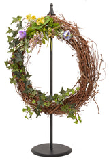 WREATH HOOK STAND - Free Standing Wrought Iron Holder with Country Star or Classic Finial