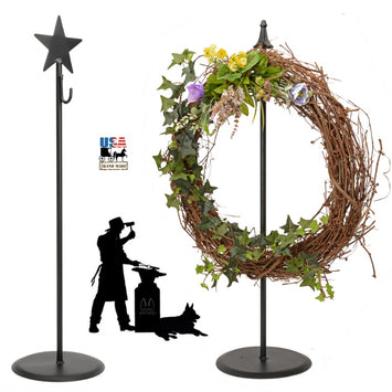 WREATH HOOK STAND - Wrought Iron Decor Coat Holder with 2 Finial Choices