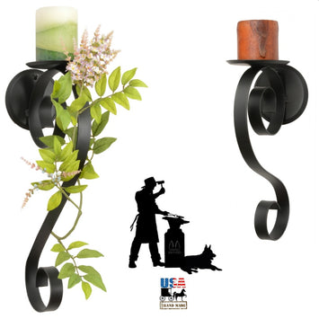 SCROLL PILLAR CANDLE SCONCE - Wrought Iron Black Metal Holder in 2 Sizes