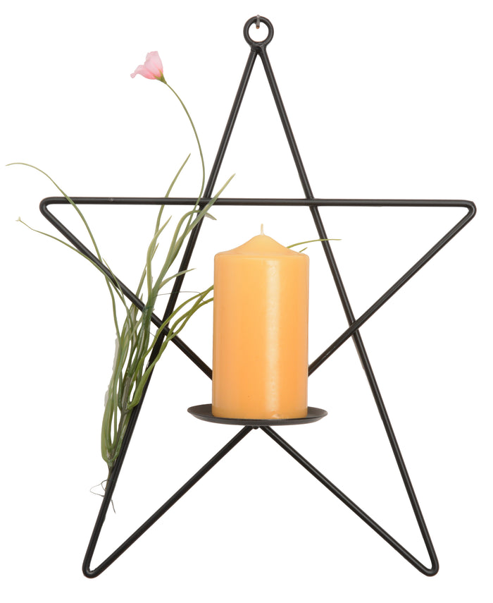 STAR PILLAR CANDLE SCONCE - Wrought Iron Metal Holder in Satin Black