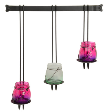 3pc HANGING PILLAR CANDLE SET - Scrolled Wrought Iron Metal Wall Holder