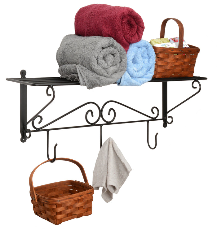 WALL STORAGE SHELF & HOOK RACK - Wrought Iron Scroll Wall Mount Organizer