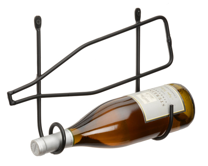WALL MOUNT WINE BOTTLE HOLDER - Amish Hand Forged Wrought Iron Rack
