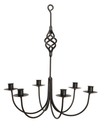 """BIRD CAGE"" BASKET WROUGHT IRON CANDLE CHANDELIER - 6 Arm Handcrafted Colonial Candelabra USA"
