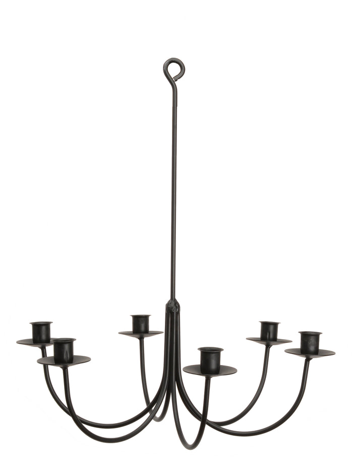 6 ARM WROUGHT IRON CANDLE CHANDELIER - Handcrafted Colonial Candelabra USA