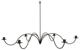 "LARGE 6 ARM WROUGHT IRON CANDLE CHANDELIER ~ 28"" Handcrafted Colonial Candelabra USA"