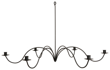 LARGE 6 ARM WROUGHT IRON CANDLE CHANDELIER ~ 28