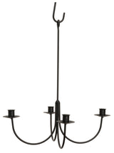 LARGE 4 ARM WROUGHT IRON CANDLE CHANDELIER - Handcrafted Colonial Candelabra USA