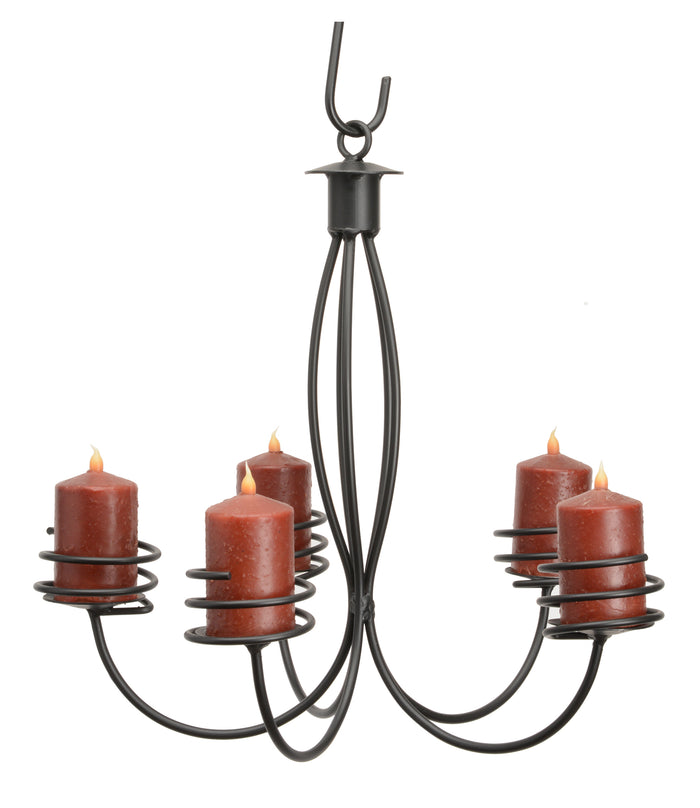 5 ARM WROUGHT IRON PILLAR CANDLE CHANDELIER - Handcrafted Colonial Candelabra USA