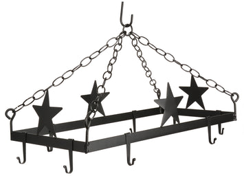 COUNTRY STARS POT & PAN RACK ~ Hanging Wrought Iron with 8 Scroll Hooks USA