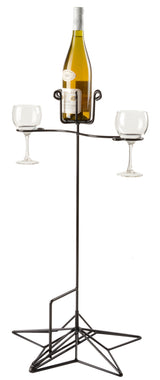 OUTDOOR WINE BOTTLE & GLASS STAND - Wrought Iron with Powder Coated Finish Rack USA