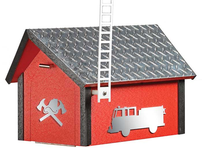 FIREFIGHTER MAILBOX - Diamond Plate First Responder Fire Engine Red Poly