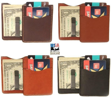 DELUXE LEATHER CARD & MONEY CLIP - Minimalist Wallet in 5 Colors