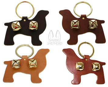 DOOR CHIME - LEATHER DOG with SLEIGH BELLS in 4 Colors - Amish Handmade in USA
