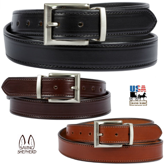 DRESS BELT - Stitched Bridle Leather in 3 Colors USA HANDMADE