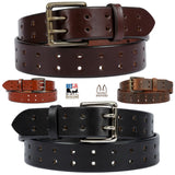 DUAL PRONG HEAVY DUTY BELT - Thick & Wide Classic Double Hole