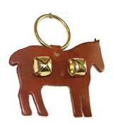 DOOR CHIME - LEATHER HORSE with SLEIGH BELLS in 4 Colors - Amish Handmade in USA