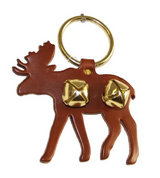 DOOR CHIME - LEATHER MOOSE with JINGLE BELLS in 3 Colors - Amish Handmade in USA