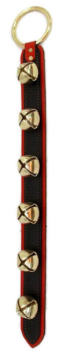 6 SLEIGH BELLS on 2 LAYER LEATHER STRAP in 4 Colors - Amish Handmade USA