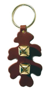 OAK LEAF DOOR CHIME - Leather with Sleigh Bells in 6 Colors - Handmade in USA