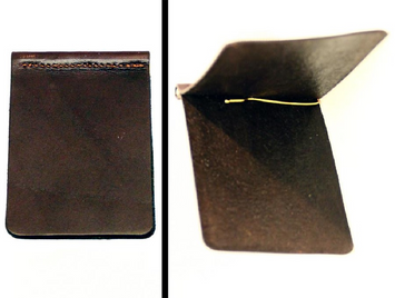 Bi-Fold LEATHER MONEY CLIP DARK BROWN Minimalist Wallet Amish Handmade USA