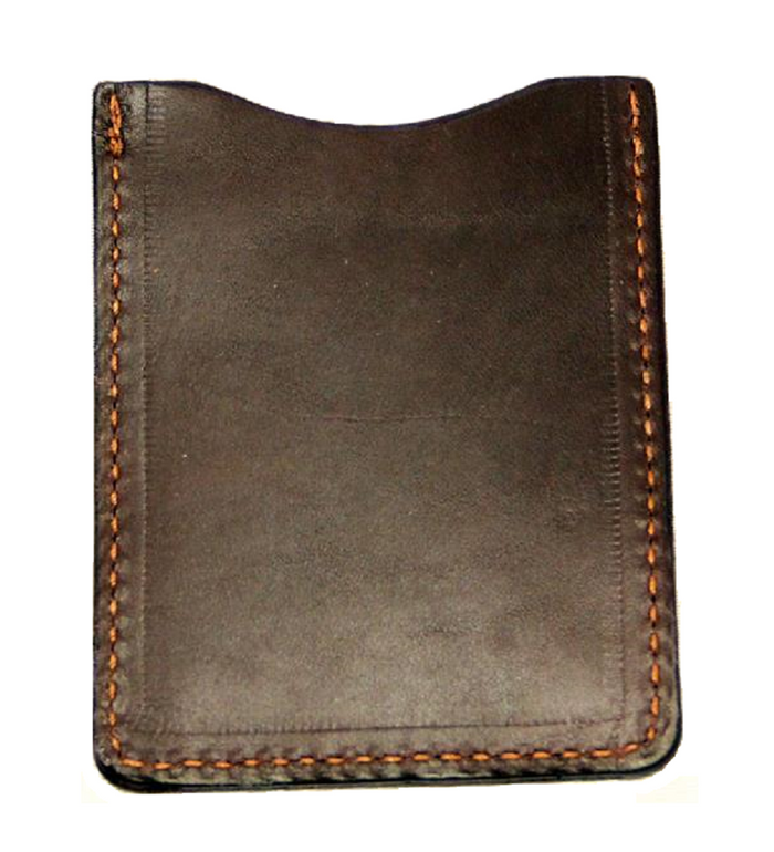 LEATHER CARD HOLDER - DARK BROWN Minimalist Wallet - Amish Handmade in USA