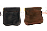 LEATHER COIN POUCH - DARK BROWN or BLACK Money Purse - Amish Handmade