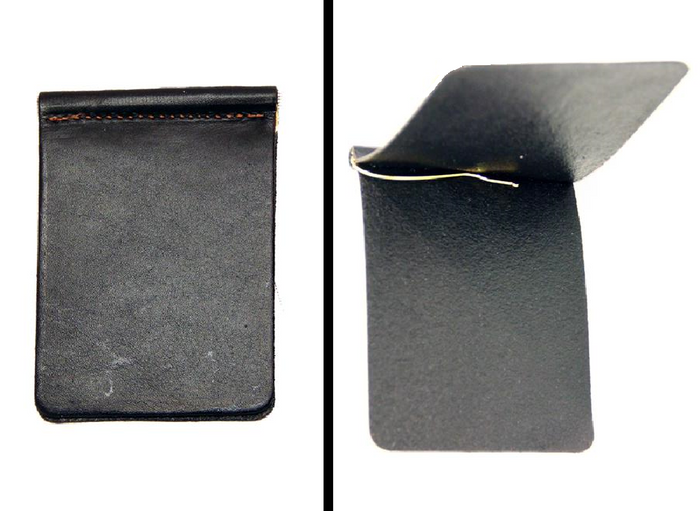 Bi-Fold LEATHER MONEY CLIP Minimalist BLACK Amish Handmade in USA