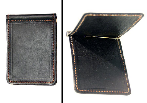 Bi-Fold LEATHER MONEY CLIP with CARD POCKET Minimalist BLACK Amish Handmade in USA
