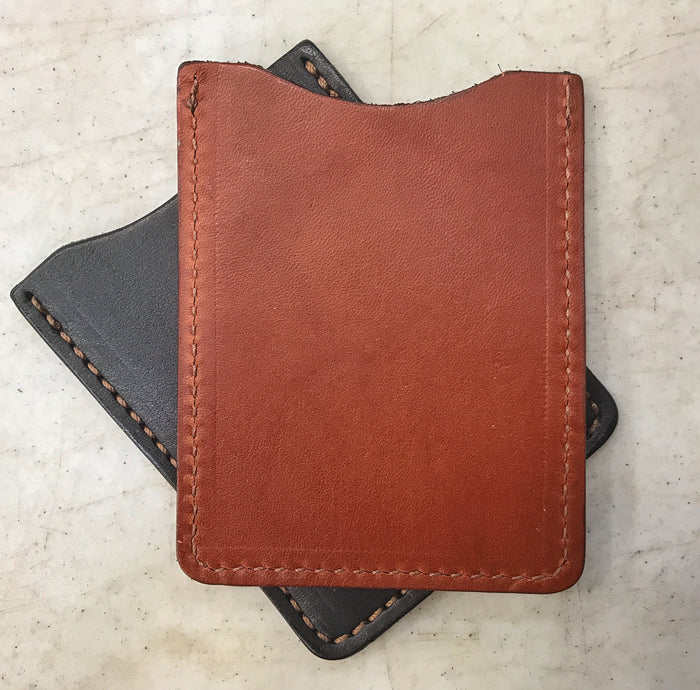 LEATHER CARD HOLDER - CHESTNUT BROWN Minimalist Wallet - Amish Handmade in USA