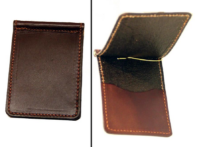 LEATHER MONEY CLIP with CARD POCKET Minimalist DARK BROWN Amish Handmade in USA