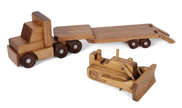 TRACTOR TRAILER WOOD TOY Amish Handmade Wooden Flat Bed Truck with Bull Dozer Set