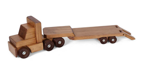 TRACTOR TRAILER WOOD TOY Amish Handmade Wooden Flat Bed Working Truck