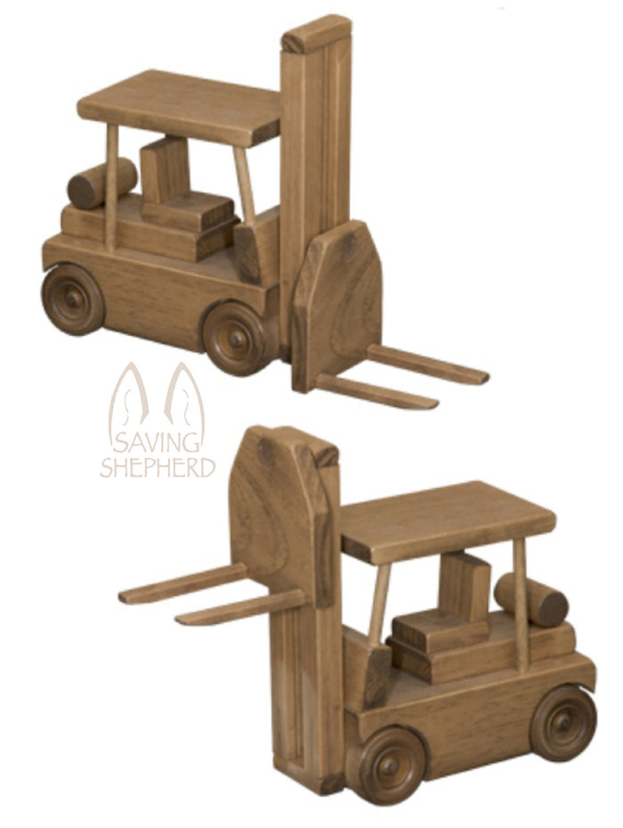 Working Wood Construction Toy Truck USA FORKLIFT with PALLET