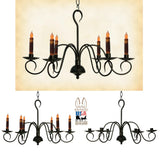 "PRIMITIVE COLONIAL METAL CANDLE CHANDELIER - ""Franklin"" 6 Arm Candelabra Handmade in USA"