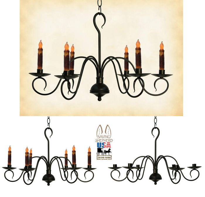 PRIMITIVE COLONIAL METAL CANDLE CHANDELIER -
