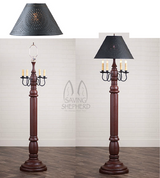 "COLONIAL FLOOR LAMP ~ ""Americana Red"" Textured Finish with Punched Tin Shade"
