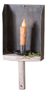 GRAIN SCOOP CANDLE HOLDER SCONCE Smokey Black Tin & Whitewash Wood