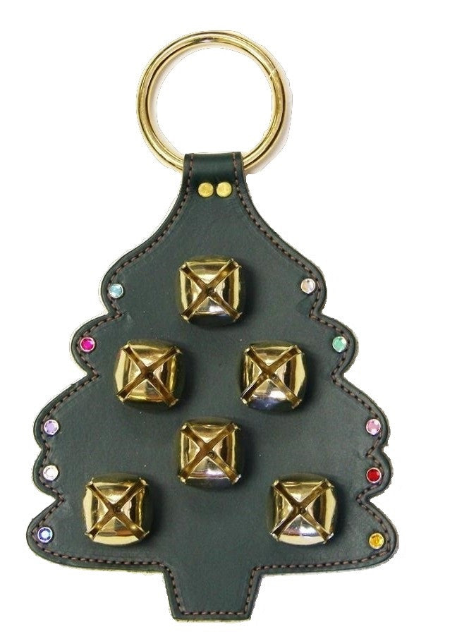 CHRISTMAS TREE LEATHER DOOR CHIME - STITCHING SLEIGH BELLS & CRYSTAL ORNAMENTS Amish Handmade in USA